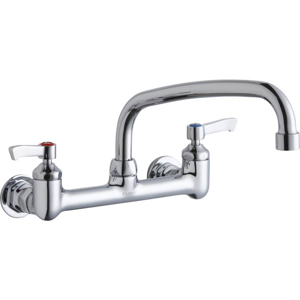 Elkay Elkay Foodservice 8'' Centerset Wall Mount Faucet with 10'' Arc Tube Spout 2'' Lever Handles 1/2in Offset Inlets Chrome